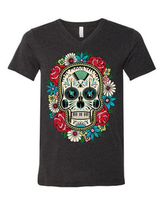 Sugar skull with Flowers on Dark Gray
