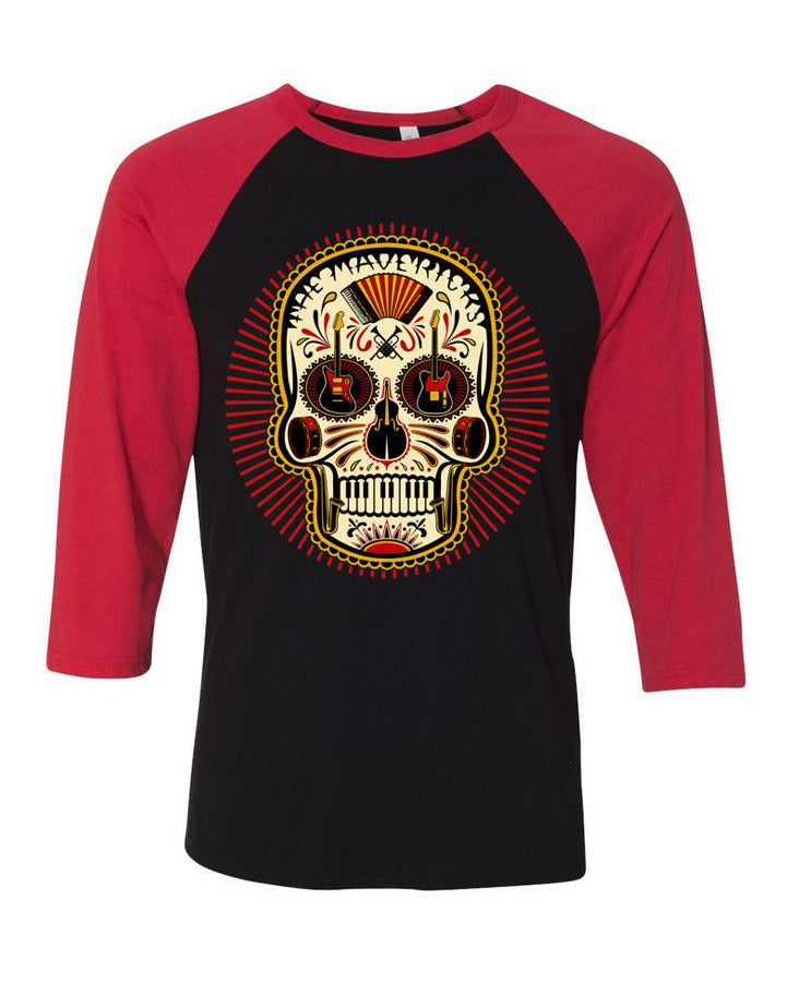 RED & BLACK SUGAR SKULL BASEBALL T-SHIRT