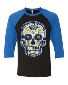 Blue and Black Sugar Skull Shirt 3/4 Sleeve