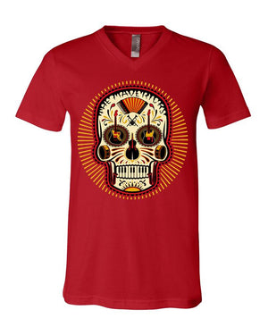 RED SUGAR SKULL V-NECK
