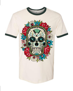Skull and Flowers on Light Beige