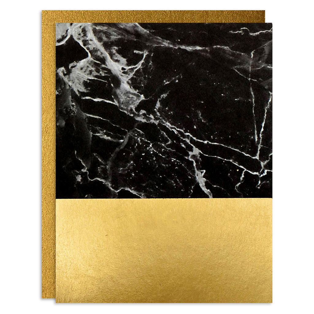 Black Marble Foil Greeting Card Set