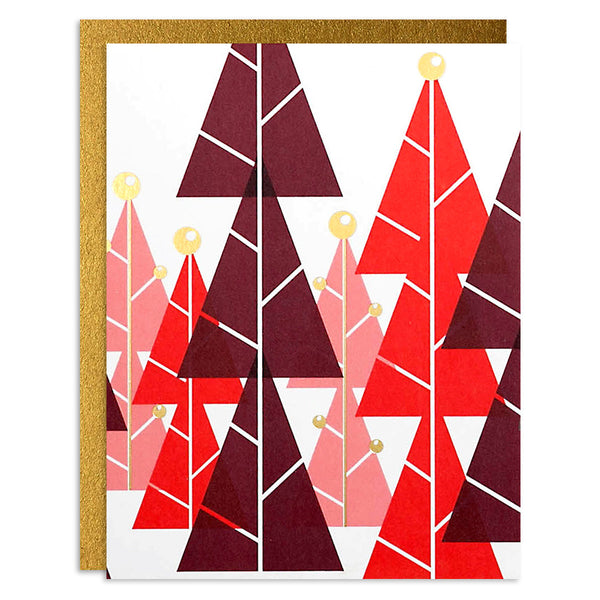 Christmas Trees Foiled Red