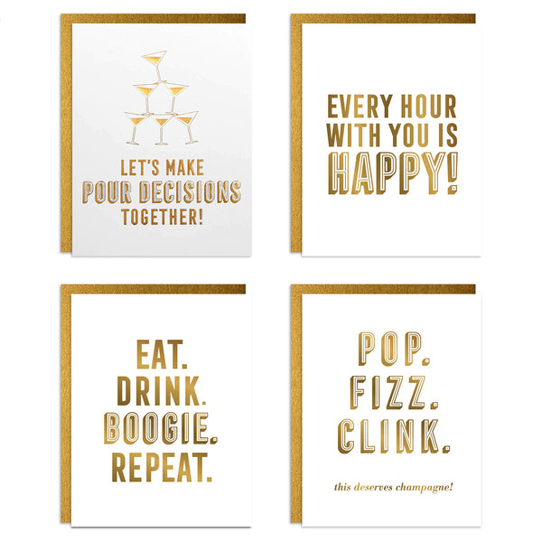 Cocktails Foiled Greeting Card Set