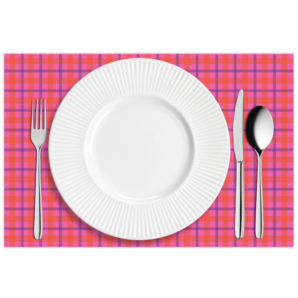 Pink Plaid Placemat Pads
