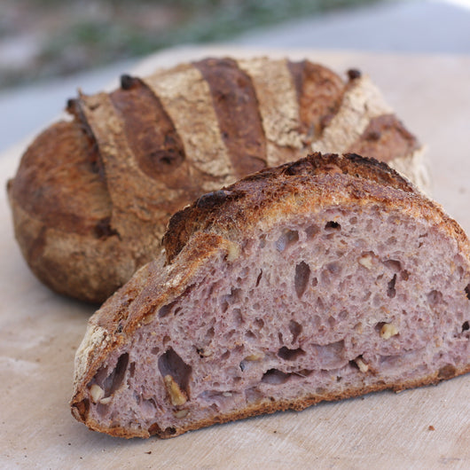 Blue corn walnut sourdough