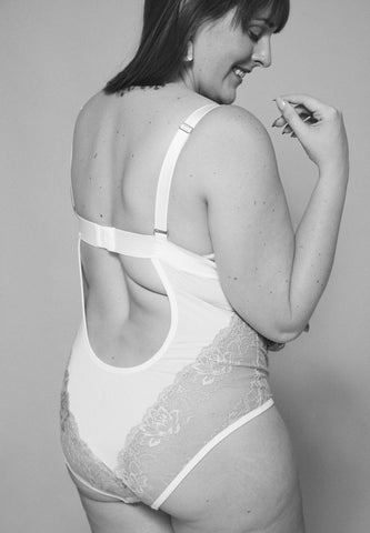 Black & white back view of rosalie wynne bodysuit
