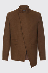 Asymmetrical Front Wool Jacket