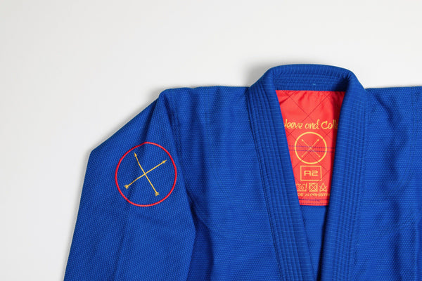 Sleeve and Collar | Blue Gi Red Insert Arrows Embroidery
