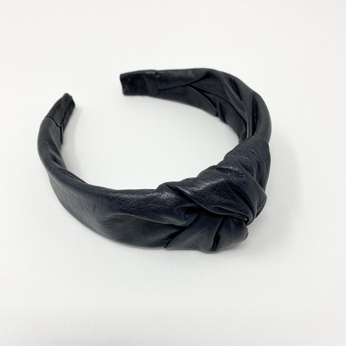 navy knot leather headband