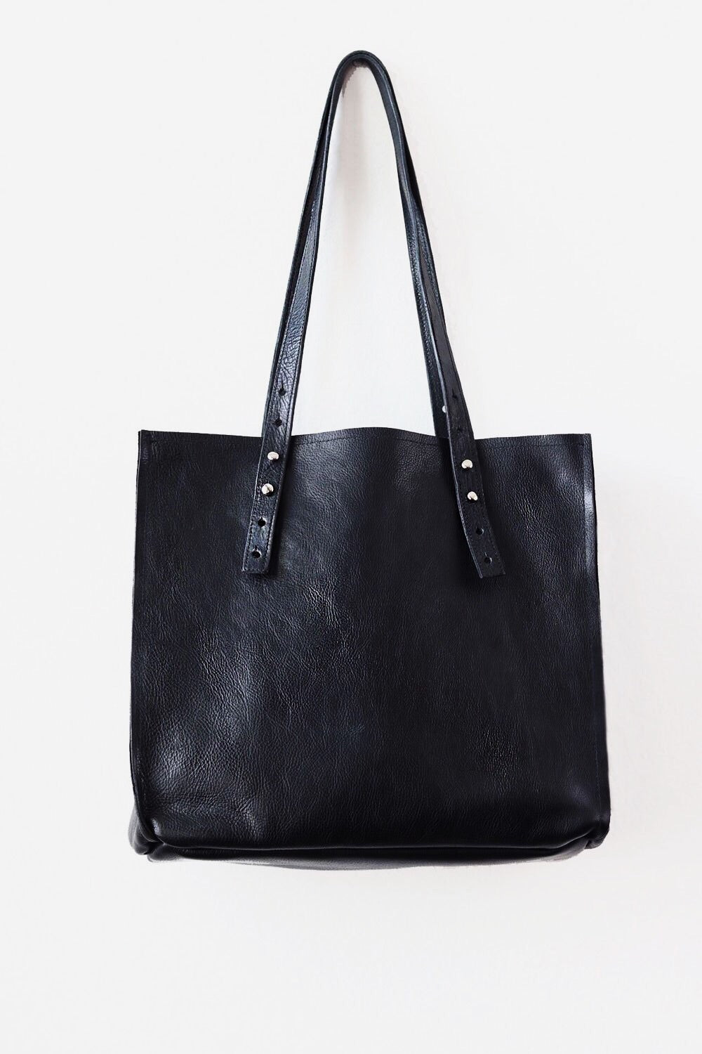 large leather black tote bag