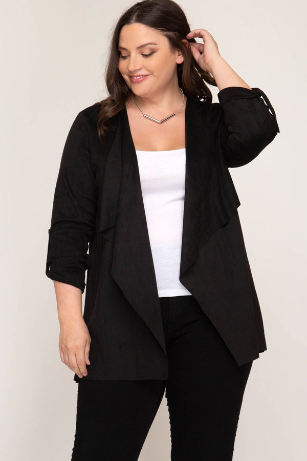 Black Faux Suede Cardigan