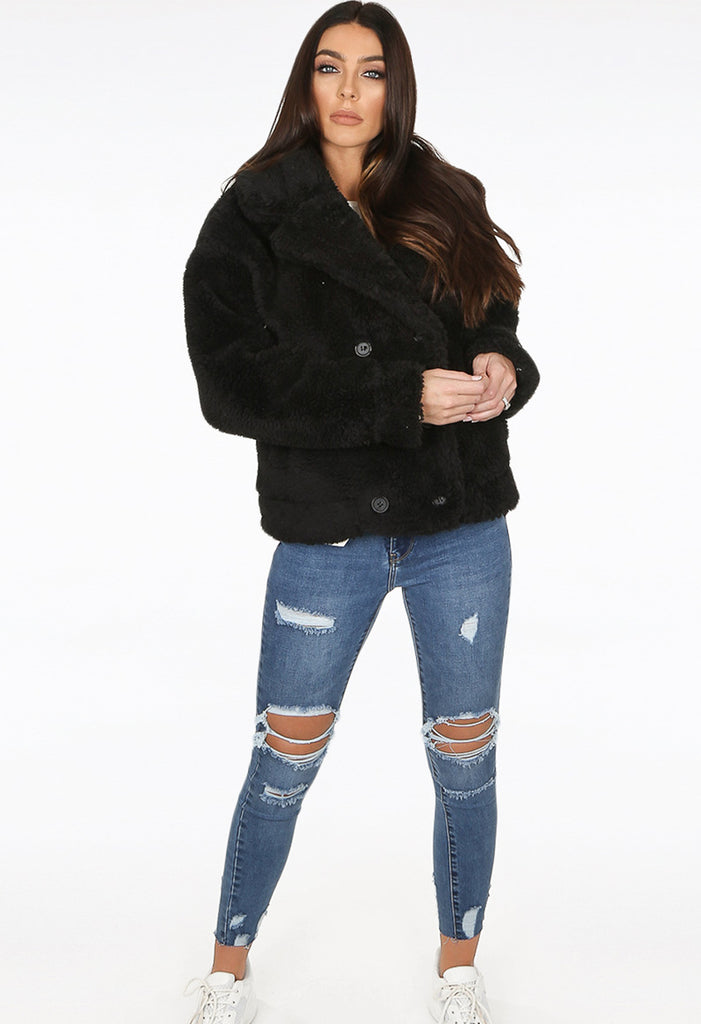 Shaggy Faux Fur Coat - Black