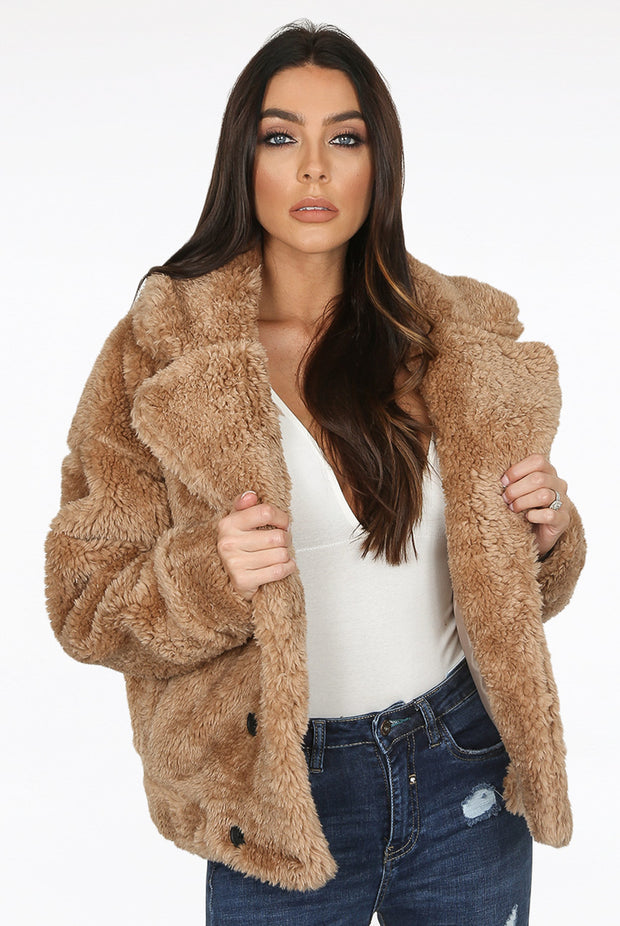Shaggy Faux Fur Coat - Brown