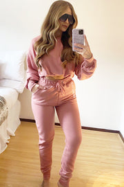 Drawstring Tracksuit - Dusty Pink