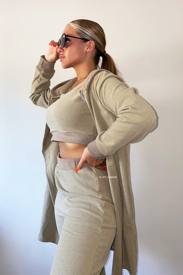 3 Piece Hoody Set - Taupe