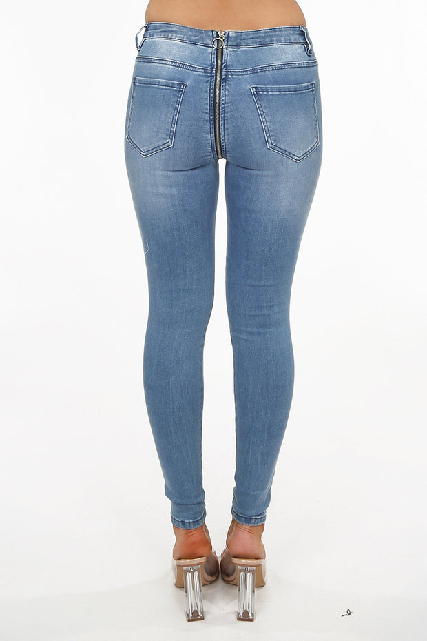 Denim Zip Back Jeans - Blue