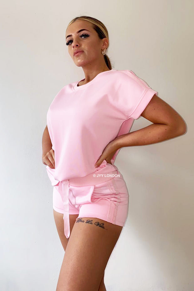 Glitter Two Stripe Short Set - Baby Pink