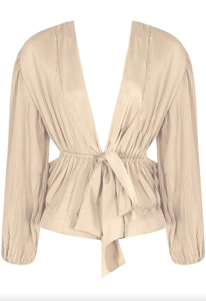 Pleated Peplum Top - Beige