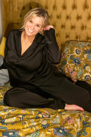 Long Sleeve Satin PJ's - Black
