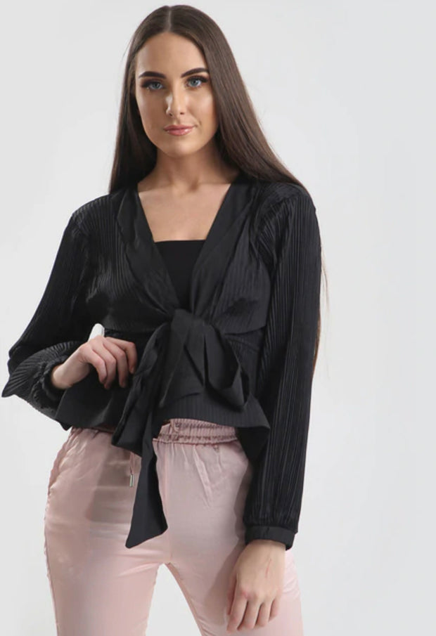 Pleated Peplum Top - Black