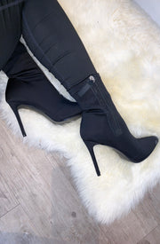 Satin Sock Boots - Black