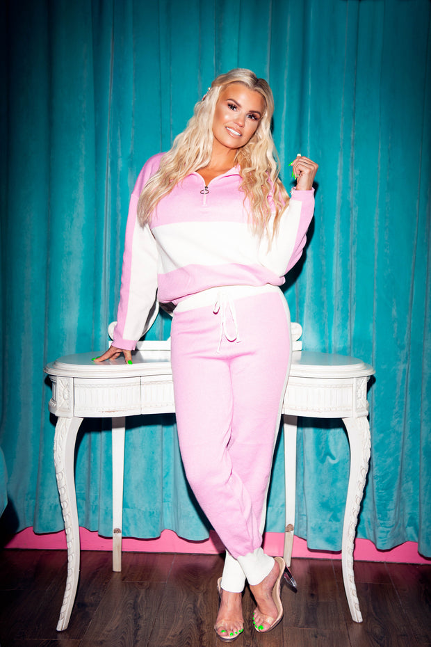 Colour Block Knit Tracksuit - Pink