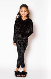 Crushed Velvet Trackie - Black
