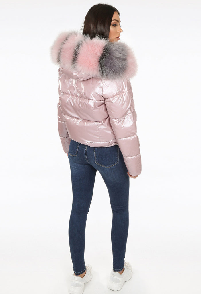 Reversible Shiny Puffer Jacket - Pink