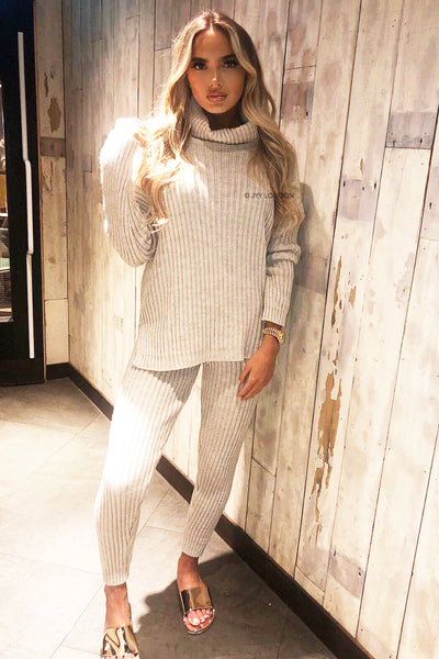 Roll Neck Knit Set - Beige