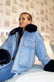 Faux Fur Denim Jacket - Denim & Black