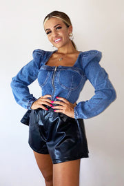 Zip Up Denim Top - Dark Blue