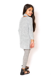 Jumper Dress & Scarf Set - Grey