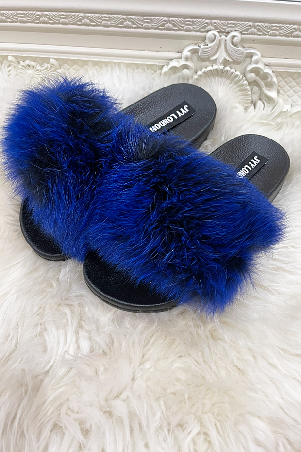 Faux Fur Sliders - Royal Blue