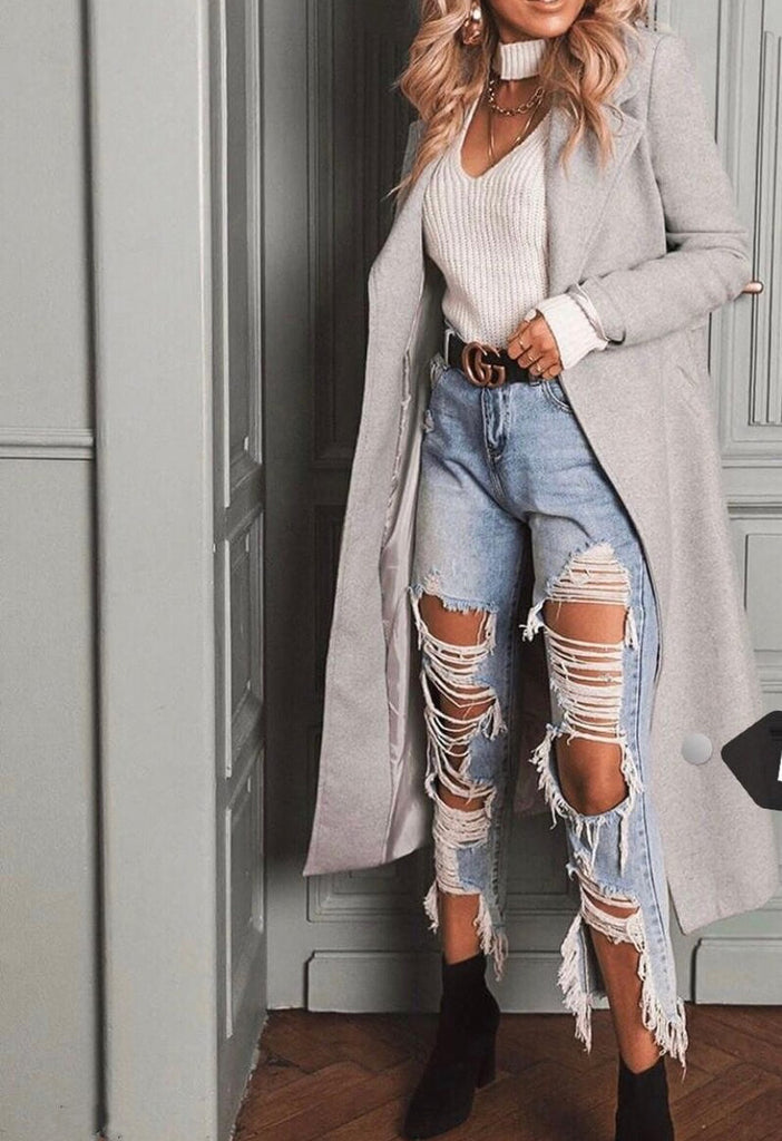 Super Ripped Denim Jeans - Blue