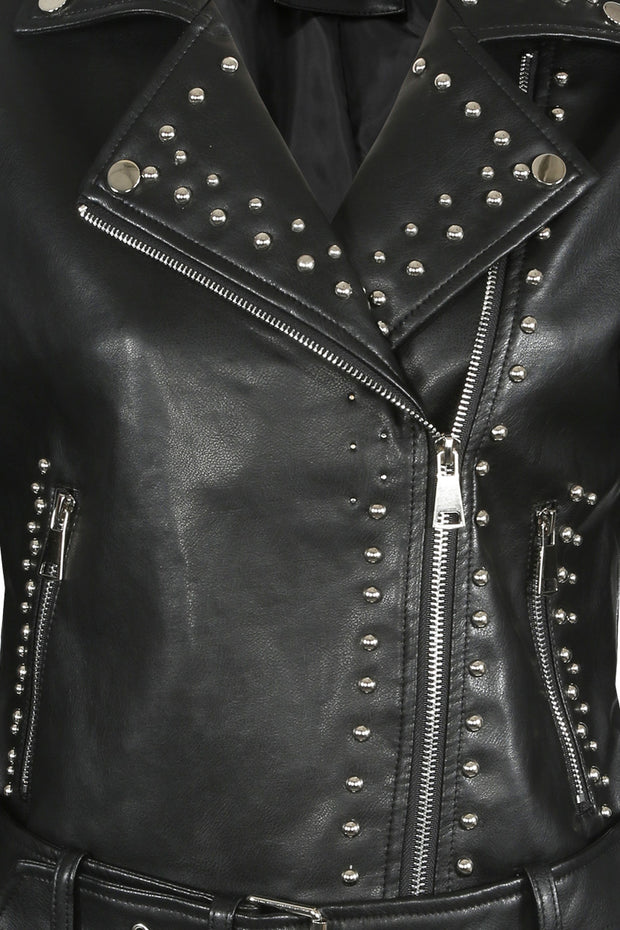 PU Stud Biker Jacket - Black