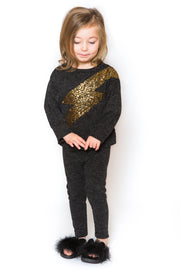 Lightning Sequin Trackie - Dark Grey