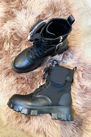 Faux Leather & Lycra Pocket Boots - Black