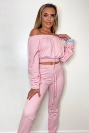 Off The Shoulder Tracksuit - Pink
