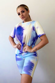 Patch Tie Dye Short Set - Purple & Blue