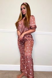 Satin Heart Print PJ's - Brown