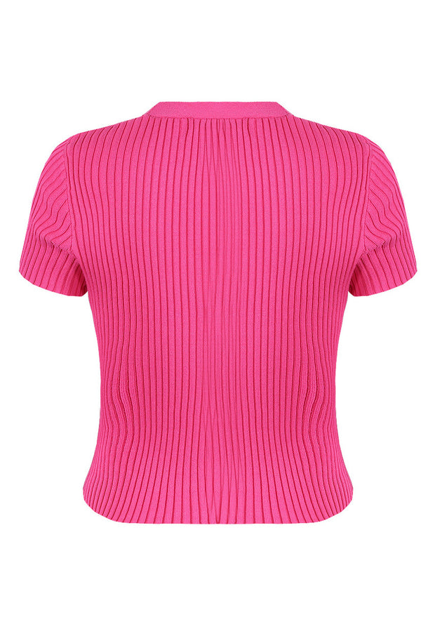 Ribbed Button Up Top - Pink