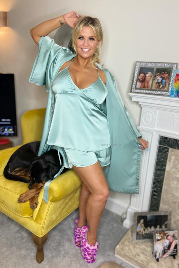 Satin 3 Piece PJ's - Mint