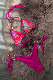 Sequin Mermaid Bikini - Neon Pink