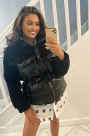 Shiny Teddy Puffer Coat - Black