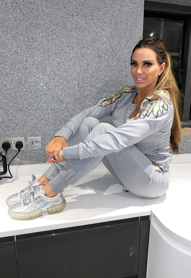 Shoulder Angel Wing Trackie - Grey
