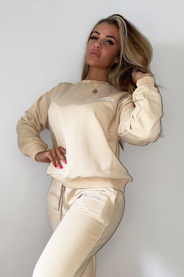 JYY London Trackie - Beige/White Logo