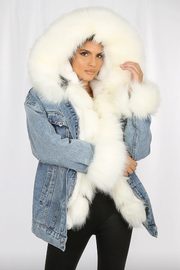 Hooded Faux Fur Denim Jacket - White