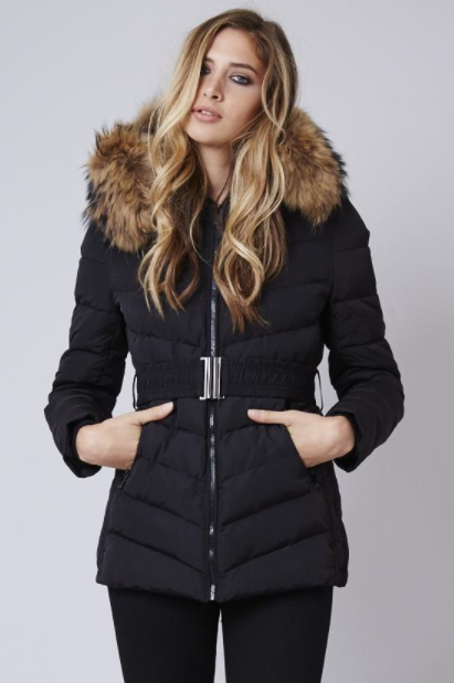 Luxe Collar Puffer Jacket - Black