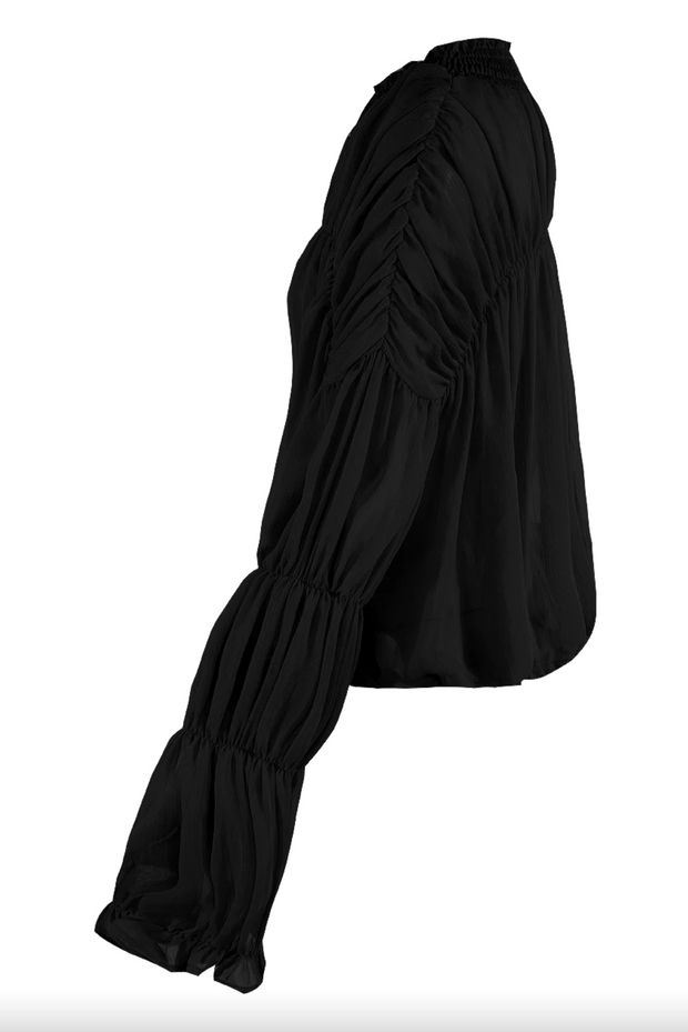 Chiffon Tie Up Blouse - Black